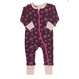 Parade Wine Stars Print 2 Way Zip Organic Cotton Romper by Parade