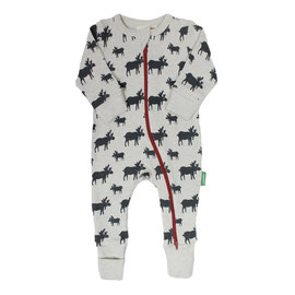 Parade Moose Print 2 Way Zip Organic Cotton Romper by Parade