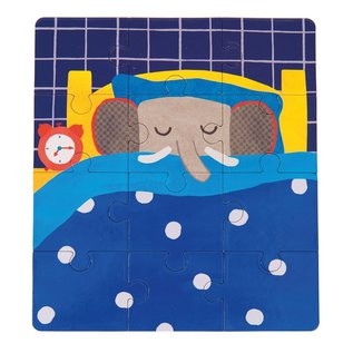 Moulin Roty Popipop the Elephant Toddler Puzzle Set of 3 (12 Piece)by Moulin Roty