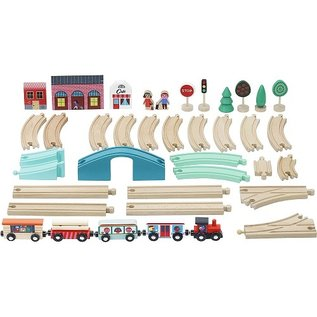 Vilac Grand Express Wooden Train Set with Tracks