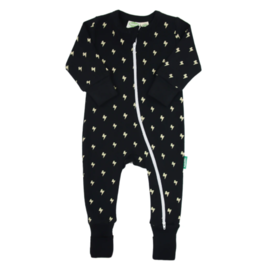 Parade Lightning Bolt Print 2 Way Zip Organic Cotton Romper by Parade