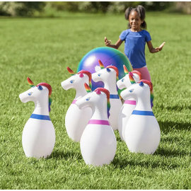 Hearthsong Inflatable Unicorn Bowling Set