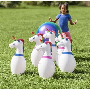 Hearthsong Inflatable Unicorn Bowling Set
