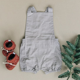Beba Bean Vintage Linen Baby Romper - Grey Colour