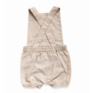 Beba Bean Vintage Linen Baby Romper - Sand Colour