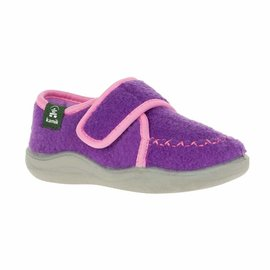 Kamik Purple Cozy Lodge Kid's Felt Slippers with Rubber Soles by Kamik