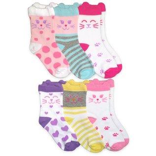 Jefferies Cat Crew Socks 6-Pack