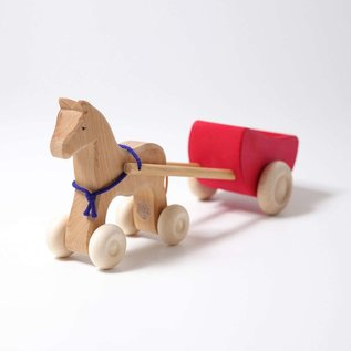 Grimms Large Wooden Horse & Red Wagon Set by Grimms