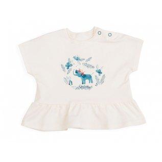 Moulin Roty Bianca Cream Elephant Screen Print Shirt by Moulin Roty