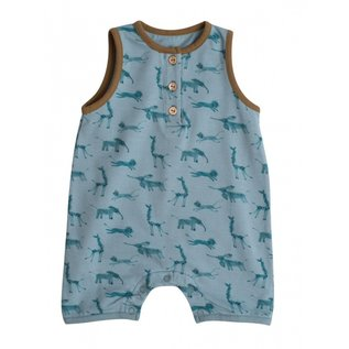 Moulin Roty Blue Print Jersey Short Dungarees by Moulin Roty