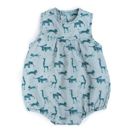 Moulin Roty Blanche Blue Animal Print Summer Romper by Moulin Roty