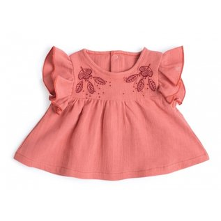 Moulin Roty 'Betty' Style Coral Pink Muslin Blouse by Moulin Roty
