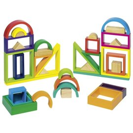 Goki Wooden Rainbow Coloured Window Blocks by Goki
