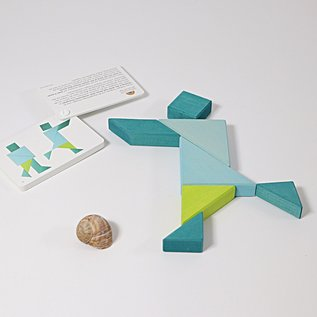 Grimms Wooden Tangram Blue Green by Grimms