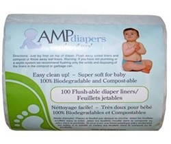 AMP Flushable Cloth Diaper Liners by AMP (100/Roll)