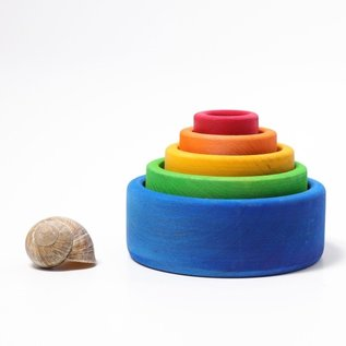 Grimms Rainbow Coloured Wooden Stacking & Nesting Bowls by Grimms (Blue Outside)