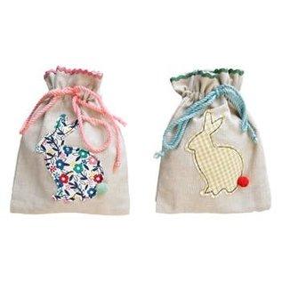 Silver Tree Bunny Design Fabric Drawstring Treat Bag