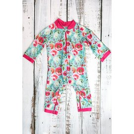 Honeysuckle Flower Power Print UV Protection One Piece Suit