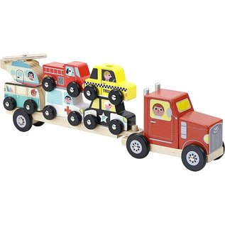 Vilac Wooden Truck & Trailer with Stacking Cars by Vilac