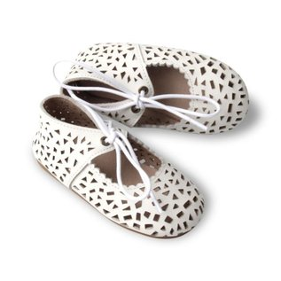 Consciously Baby Handmade 'Cotton White' Leather Boho Mary Jane Shoe by Consciously Baby