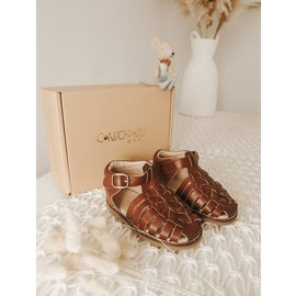 Consciously Baby Handmade 'Hazelnut' Leather Indie Sandals by Consciously Baby