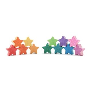 Coloured Wooden Stars by Ocamora (12 Piece)