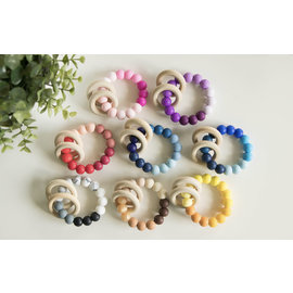 Brumbly Baby Silicone & Wood Ombre Rattles