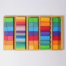 Wooden Building Set - Shapes & Colours 70 Piece by Grimms