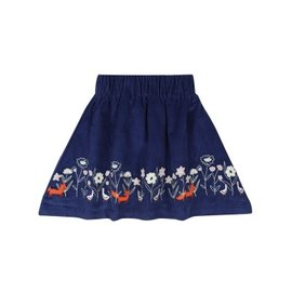 Lily + Sid Navy Cord Skirt with Applique Hem by Lilly + Sid