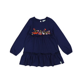 Lily + Sid Navy Embroidered Jersey Dress by Lilly + Sid
