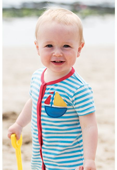 Frugi Rock Pool Short Romper Organic Cotton by Frugi