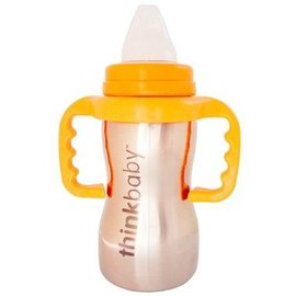 ThinkBaby Stainless Steel Sippy Cup  (Orange) with Handles by ThinkBaby