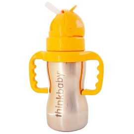 ThinkBaby Orange Stainless Steel Straw Cup with Handles by ThinkBaby