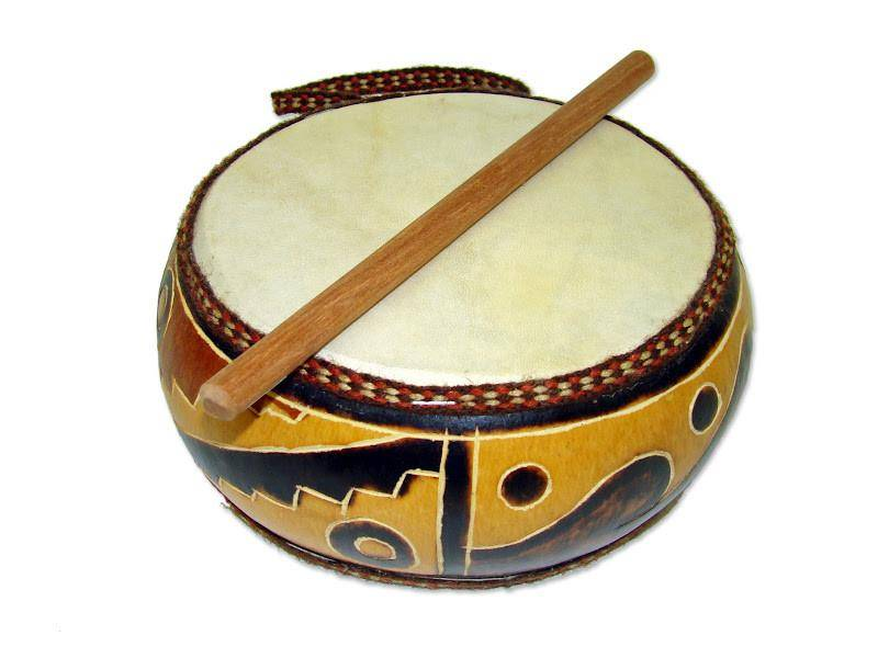 Gourd Double Sided Drum with Stick, Musical Instrument (Fair Trade)  Designs, Musical Toy (Fair Trade) | Abby Sprouts Eco-Friendly Baby and Kids  Store
