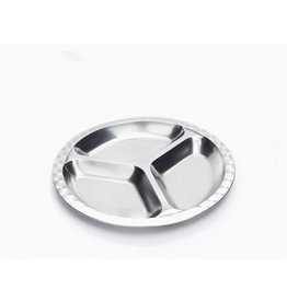 Onyx Divided, Medium Size Round Stainless Steel Plate by Onyx