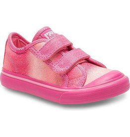 Keds Little Kid Glittery Pink Sugar Dip Hook & Loop Sneakers by Keds