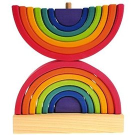 Grimms Wooden Double Rainbow Stacking Tower Toy by Grimms