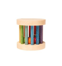 Grimms Wooden Mini Rolling Wheel Rattle with Bells by Grimms