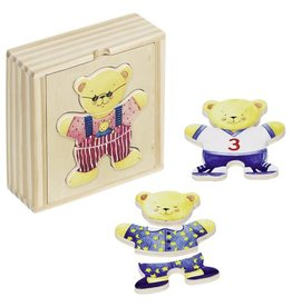 Goki Bear Dress Up Puzzle in Wooden Box
