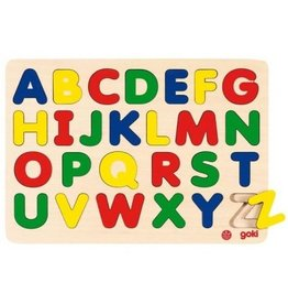 Goki Number/Alphabet Puzzles in Wooden Tray (Assorted) ~