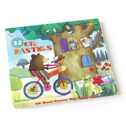 Eeboo Bear on a Bicycle 32-Oil Pastels by Eeboo