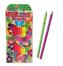 Eeboo Fluorescent Pencil Crayons 12-Pack (Butterflies) by Eeboo