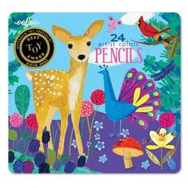 Eeboo Life on Earth 24-Pack Colour Pencil Crayons Tin