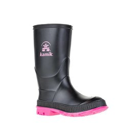 Kamik Black with Magenta Sole - Stomp Style Rubber Rain Boots by Kamik