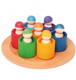 Grimms 7 Rainbow Friends in 7 Rainbow Bowls by Grimms