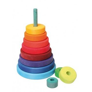 Grimms Wooden Rainbow Conical Stacking Tower by Grimms