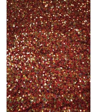 Red Orange Multi Sequin stretch fabric