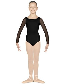 Mirella Mirella Mesh Paneled Open Back Long Sleeve Leotard M113C