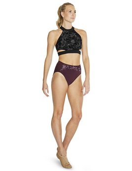 Bloch Bloch Floral Mesh X Back Long Crop Top FT5093