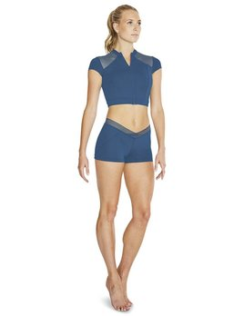 Bloch Bloch Zip Front Mesh Long Crop Top FT5104